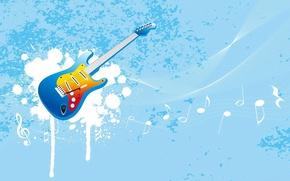 Картинка гитара, вектор, ноты, голубой, музыка