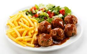Картинка meat, помидоры, котлеты, тефтели, tomatoes, салат, green, мясо, картофель фри
