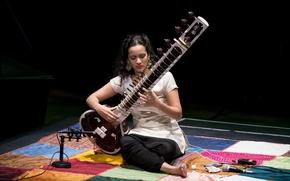Обои девушка, музыка, инструмент