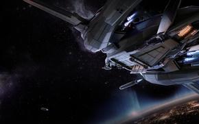Картинка космос, взрыв, планета, истребитель, Star Citizen, Vanguard
