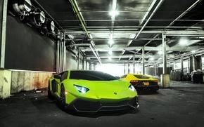 Картинка Lamborghini, Green, Yellow, Aventador, LP720-4, 50 Anniversario Edition