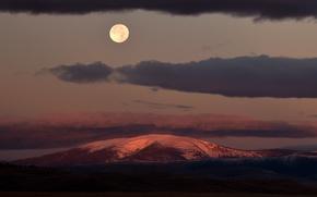 Обои moon, United States, twilight, clouds, dusk, full moon, Montana, Mount Baldy