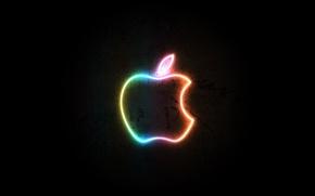 Обои черный, apple, логотип, Неон