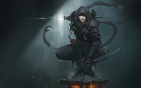 Обои взгляд, девушка, оружие, арт, капюшон, броня