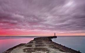 Обои море, рассвет, маяк, пирс