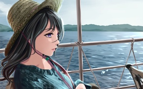 Картинка девушка, река, корабль, шляпа, арт, перила, shamakho