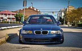Картинка бмв, BMW, tuning, E46, stance, stance works, синия