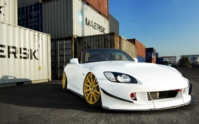 Картинка Honda, Car, Front, White, S2000, Tuning, Gold, Wheels