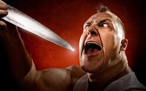 Картинка человек, ситуация, нож, безумие