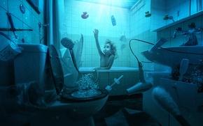 Картинка вода, пузыри, девочка, ванна