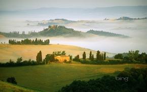 Картинка туман, поля, италия