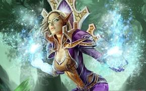 Картинка World of warcraft, trading card game, эльфийка, эльф, девушка, магия
