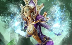 world of warcraft, trading card game, эльфийка, эльф, девушка, магия обои