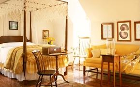 Картинка комната, диван, дизайн, стол, цветы, окно, кровать, стулья, балдахин, спальня, картины