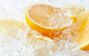 Картинка лед, лимон, апельсин, цитрус, lemon, ice, orange, citrus