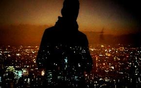 Обои night, man, cityscape, silhouette