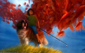 Картинка рыбы, собака, рыбак, мальчик, удочка, Liam Peters