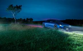 Картинка трава, ночь, синий, фары, Maserati, Quattroporte, Novitec