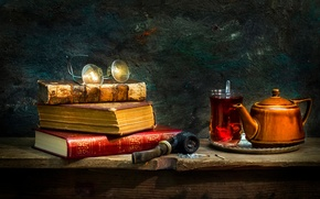 Картинка стакан, чай, книги, трубка, очки, Tradition