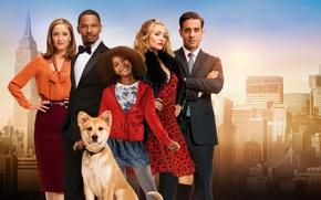 Картинка город, фон, собака, девочка, постер, Rose Byrne, Роуз Бирн, Cameron Diaz, Jamie Foxx, Джейми Фокс, …