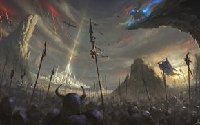 Обои дракон, небо, магия, арт, войны, скалы, фэнтази
