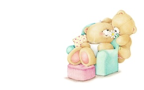 Картинка цветок, уют, дом, настроение, праздник, подарок, кофе, кресло, утро, арт, мишка, детская, Forever Friends Deckchair ...
