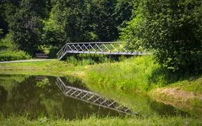 Картинка лето, деревья, озеро, Мост, лавочка, белогорье