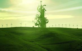 Картинка поле, зеленый, обработка, ветряки