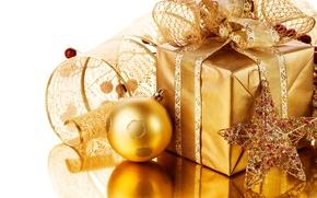 Картинка праздник, подарок, игрушки, новый год, лента, декорации, happy new year, christmas decoration, новогодние обои, christmas …