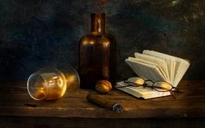 Картинка бокал, орех, очки, сигара, книга, Past midnight