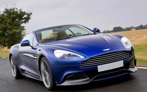 Картинка Aston Martin, Синий, Машина, Скорость, Car, 2012, Wallpapers, Астон Мартин, Vanquish, Передок, Вэнкуиш