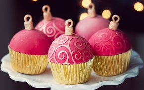 Картинка еда, тарелка, сладости, десерт, праздники, боке, кексы