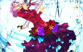 Картинка девушка, цветы, розы, аниме, арт, guilty crown, yuzuriha inori, корона вины