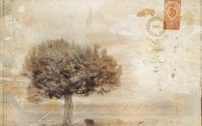 Картинка письмо, стиль, фон, дерево