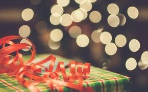 Картинка подарок, лента, красная, боке, упаковка