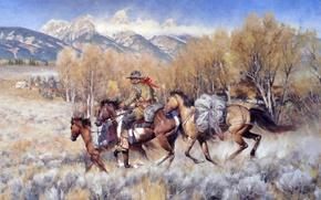 Картинка небо, деревья, пейзаж, горы, картина, лошади, ковбой, прерия, Carter Gary, Return Of The Bossloper