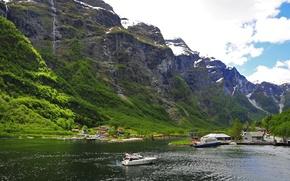 Картинка снег, горы, природа, Norway, дома.