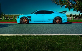 Картинка Dodge, SRT8, Car, Blue, Charger, Side, Rides, Blooded