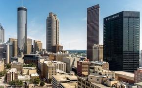 Картинка небо, city, город, дом, здание, небоскреб, парковка, house, georgia, сша, sky, даунтаун, skyscraper, usa, parking, ...
