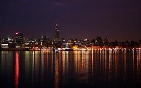 Обои море, ночной город, огни