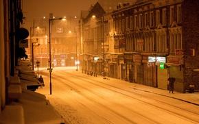 Картинка зима, снег, город, улица, Лондон, вечер