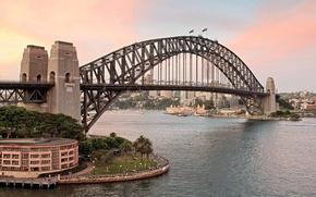 Картинка закат, мост, город, Австралия, залив, Сидней, Australia, Sydney, Sydney Harbour Bridge, Харбор-Бридж, флаги., Порт-Джэксон