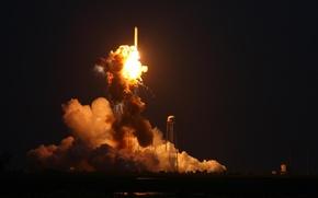 Картинка полет, взрыв, огонь, ракета, старт, космодром