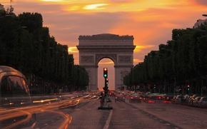 Картинка огни, вечер, сумерки, Париж, Триумфальная арка, Елисейские поля