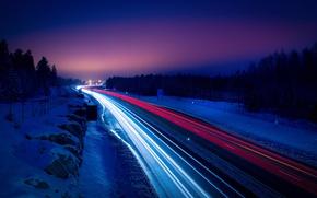 Обои дорога, зима, ночь, снег, свет, огни