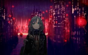 Картинка девушка, город, огни, дождь, дома, аниме, шарф, арт, школьница