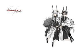 Картинка девушки, чулки, белый фон, двое, ушки, art, оборки, Shungo Suvaki, Blood Opera