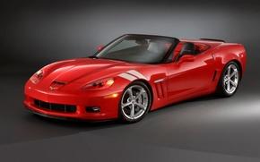 Обои красный, Chevrolet, corvette