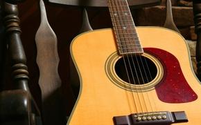Обои гитара, струны, кресло