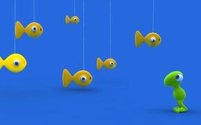Картинка свет, глаз, рендеринг, игрушка, цвет, рыбка, марионетка